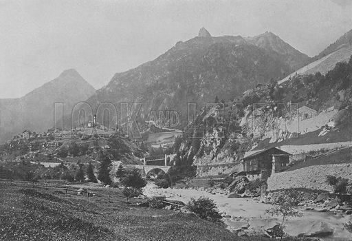 La Ligne du Gothard pres Wassen. Illustration for Mon Voyage En Suisse (L Geisler, c 1895).