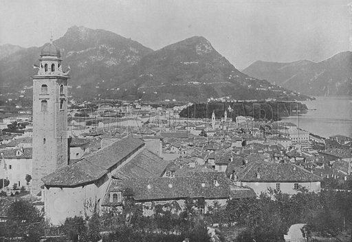 Lugano, Vue Generale et le Monte Bre. Illustration for Mon Voyage En Suisse (L Geisler, c 1895).