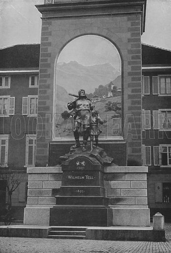 Altdorf, La Statue de Guillaume Tell. Illustration for Mon Voyage En Suisse (L Geisler, c 1895).