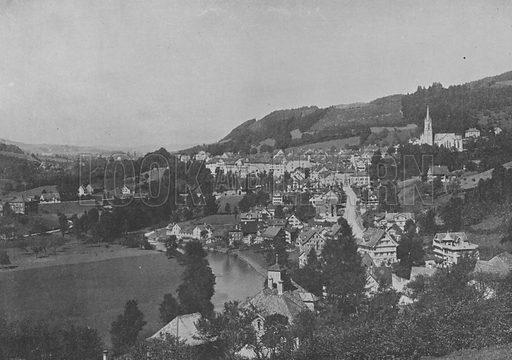 Lichtensteig, Toggenbourg, Canton de Saint-Gall. Illustration for Mon Voyage En Suisse (L Geisler, c 1895).