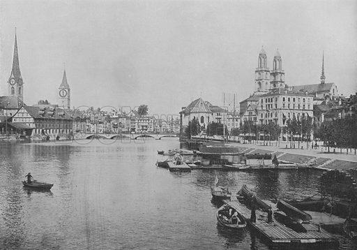 Zurich et la Limmat. Illustration for Mon Voyage En Suisse (L Geisler, c 1895).
