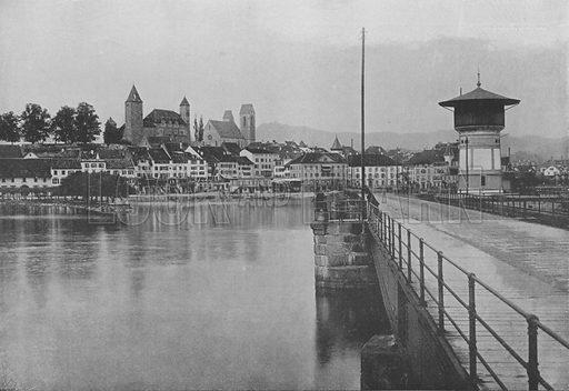 Rapperswil, Lac de Zurich. Illustration for Mon Voyage En Suisse (L Geisler, c 1895).