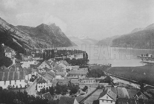 Weesen, Lac de Wallenstadt. Illustration for Mon Voyage En Suisse (L Geisler, c 1895).