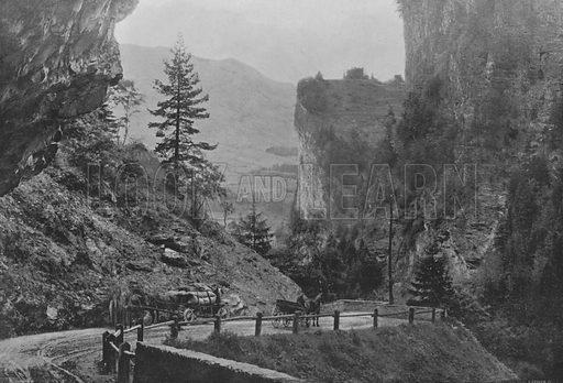 Route de la Via Mala et le Hohen Rhatien. Illustration for Mon Voyage En Suisse (L Geisler, c 1895).