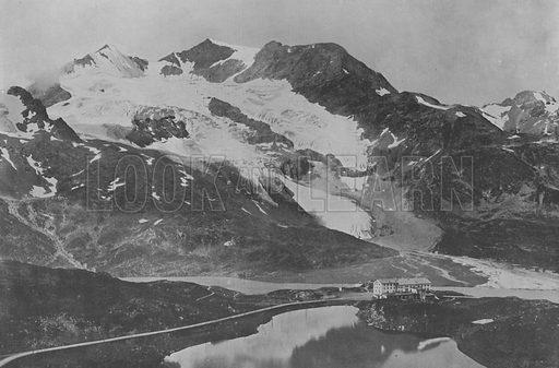 Massif et Col du Bernina, L'Hospice. Illustration for Mon Voyage En Suisse (L Geisler, c 1895).