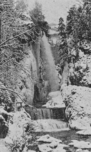 Les Corges du Taubenloch, pres Bienne en hiver. Illustration for Mon Voyage En Suisse (L Geisler, c 1895).