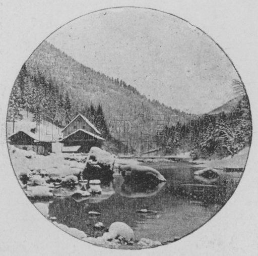 Paysage d'hiver aux Brenets, Jura Neuchatelois. Illustration for Mon Voyage En Suisse (L Geisler, c 1895).