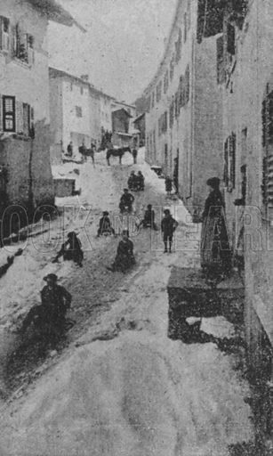 Rue a Liddes en hiver, Route du Grand Saint-Bernard. Illustration for Mon Voyage En Suisse (L Geisler, c 1895).