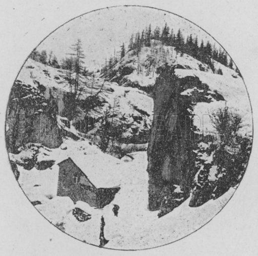 Route du Grand St-Bernard en hiver. Illustration for Mon Voyage En Suisse (L Geisler, c 1895).