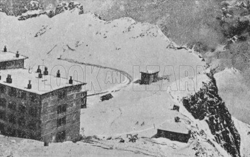 Rochers de Naye, Vaud en hiver, Altitude 2044 metres. Illustration for Mon Voyage En Suisse (L Geisler, c 1895).