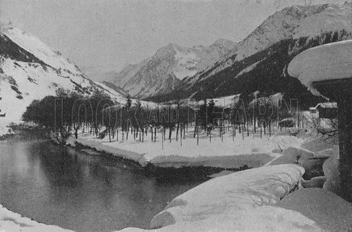 Paysage d'hiver a Klosters, Grisons. Illustration for Mon Voyage En Suisse (L Geisler, c 1895).