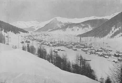 Davos-Platz et le Seehorn. Illustration for Mon Voyage En Suisse (L Geisler, c 1895).