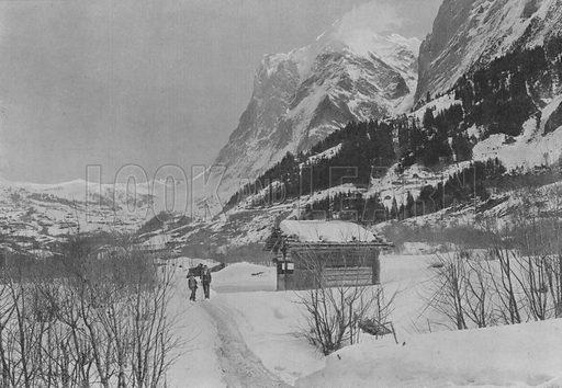 Paysage d'hiver a Grindelwald et le Wetterhorn. Illustration for Mon Voyage En Suisse (L Geisler, c 1895).