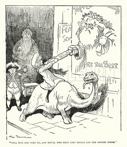 """""""Pull this one with me, and you'll find that very riddle and the answer inside."""" Illustration for The World That Never Was, A London Fantasy by A St John Adcock (Francis Griffiths, 1908)."""
