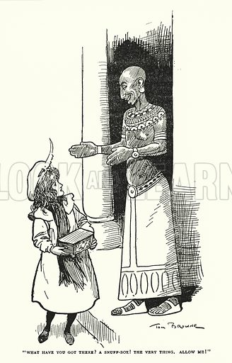 """""""What have you got there? A snuff-box! The very thing, Allow me!"""" Illustration for The World That Never Was, A London Fantasy by A St John Adcock (Francis Griffiths, 1908)."""