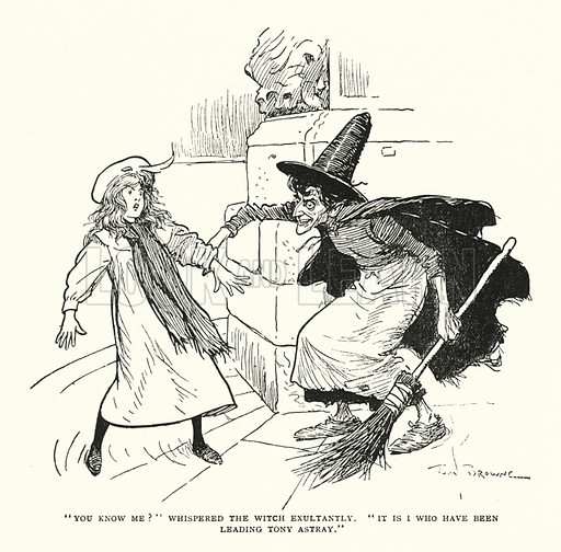 """""""You know me?"""" whispered the witch exultantly, """"It is I who have been leading Tony astray."""" Illustration for The World That Never Was, A London Fantasy by A St John Adcock (Francis Griffiths, 1908)."""