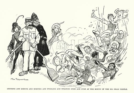 Spinning and kicking and bumping and twirling and twisting over and over at the mouth of the big brass nozzle. Illustration for The World That Never Was, A London Fantasy by A St John Adcock (Francis Griffiths, 1908).