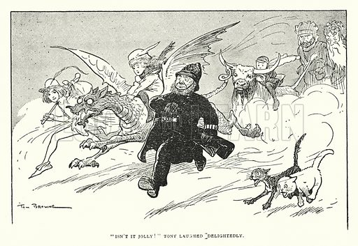 """""""Isn't it jolly!"""" Tony laughed delightedly. Illustration for The World That Never Was, A London Fantasy by A St John Adcock (Francis Griffiths, 1908)."""