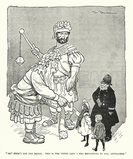 """""""Ah! Here's Gog and Magog, This is the young lady I was mentioning to you, gentlemen."""" Illustration for The World That Never Was, A London Fantasy by A St John Adcock (Francis Griffiths, 1908)."""