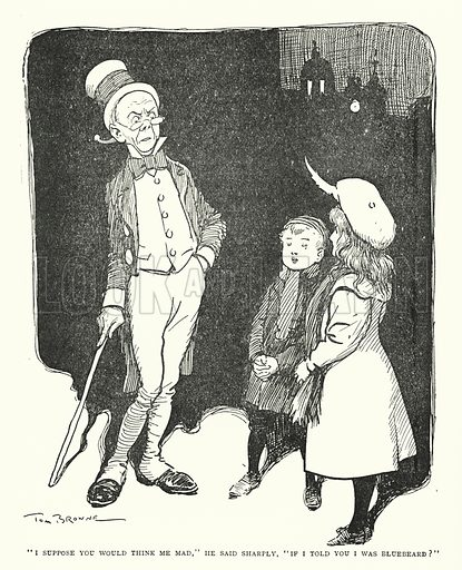 """I suppose you would think me mad,"" he said sharply, ""If I told you I was bluebeard?"" Illustration for The World That Never Was, A London Fantasy by A St John Adcock (Francis Griffiths, 1908)."