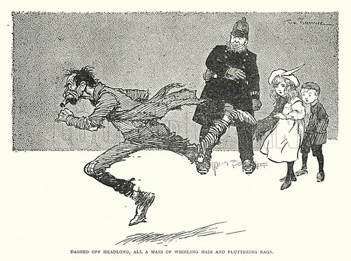Dashed off headlong, all a mass of whirling hair and fluttering rags. Illustration for The World That Never Was, A London Fantasy by A St John Adcock (Francis Griffiths, 1908).