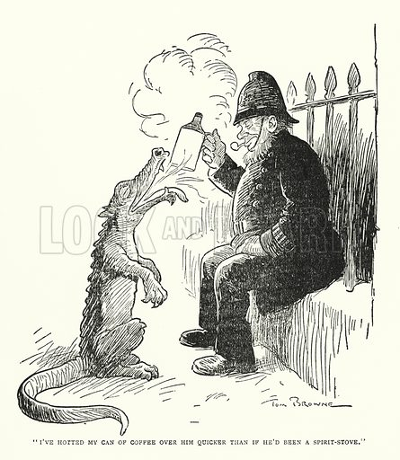 """""""I've hotted my can of coffee over him quicker than if he'd been a spirit-stove."""" Illustration for The World That Never Was, A London Fantasy by A St John Adcock (Francis Griffiths, 1908)."""