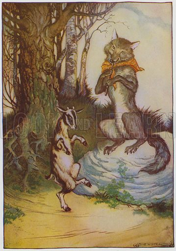 The Wolf and the Kid. Illustration for The Aesop for Children with pictures by Milo Winter (Rand McNally, 1919).
