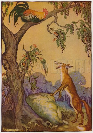 The Cock and the Fox. Illustration for The Aesop for Children with pictures by Milo Winter (Rand McNally, 1919).
