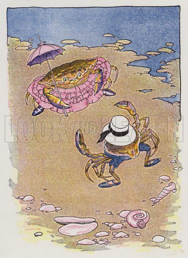 The Young Crab and His Mother. Illustration for The Aesop for Children with pictures by Milo Winter (Rand McNally, 1919).