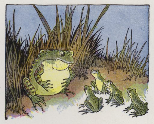 The Frogs and the Ox. Illustration for The Aesop for Children with pictures by Milo Winter (Rand McNally, 1919).