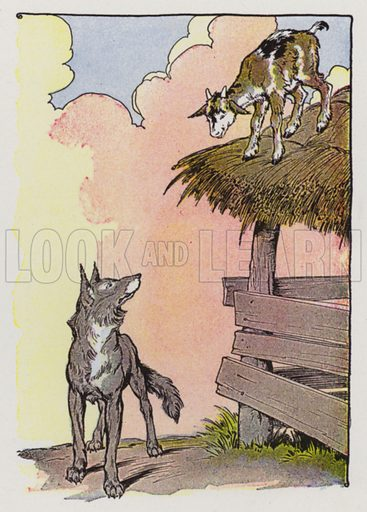 The Kid and the Wolf. Illustration for The Aesop for Children with pictures by Milo Winter (Rand McNally, 1919).