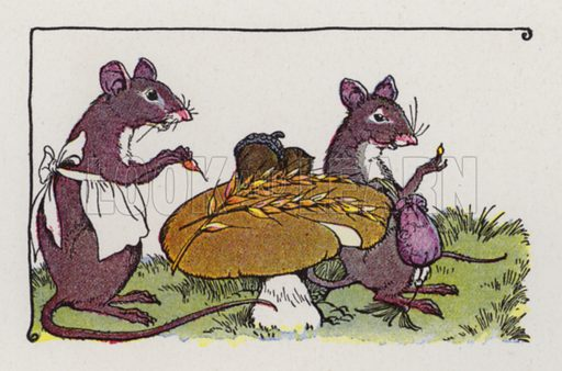 The Town Mouse and the Country Mouse. Illustration for The Aesop for Children with pictures by Milo Winter (Rand McNally, 1919).
