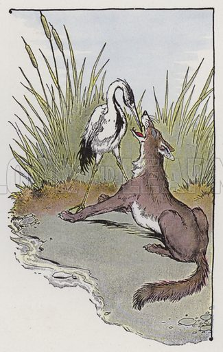 The Wolf and the Crane. Illustration for The Aesop for Children with pictures by Milo Winter (Rand McNally, 1919).