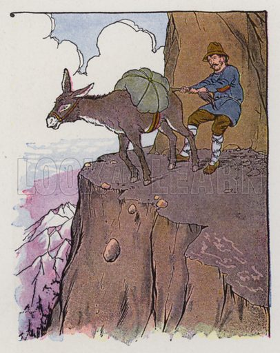 The Ass and His Driver. Illustration for The Aesop for Children with pictures by Milo Winter (Rand McNally, 1919).