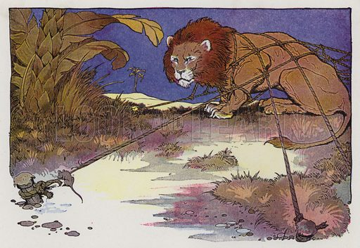 The Lion and the Mouse. Illustration for The Aesop for Children with pictures by Milo Winter (Rand McNally, 1919).