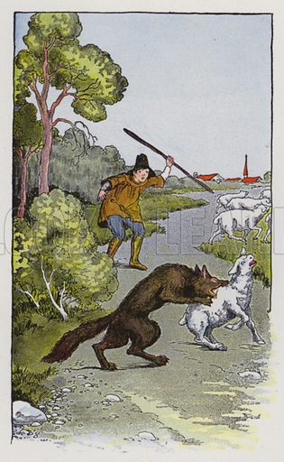 The Shepherd Boy and the Wolf. Illustration for The Aesop for Children with pictures by Milo Winter (Rand McNally, 1919).