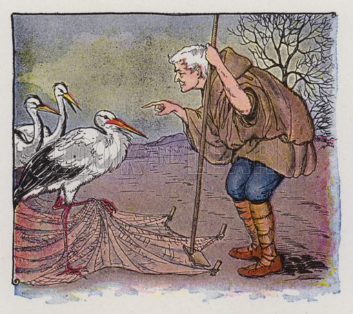 The Farmer and the Stork. Illustration for The Aesop for Children with pictures by Milo Winter (Rand McNally, 1919).
