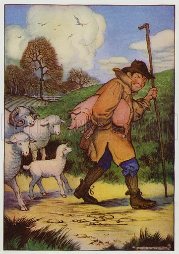 The Sheep and the Pig. Illustration for The Aesop for Children with pictures by Milo Winter (Rand McNally, 1919).