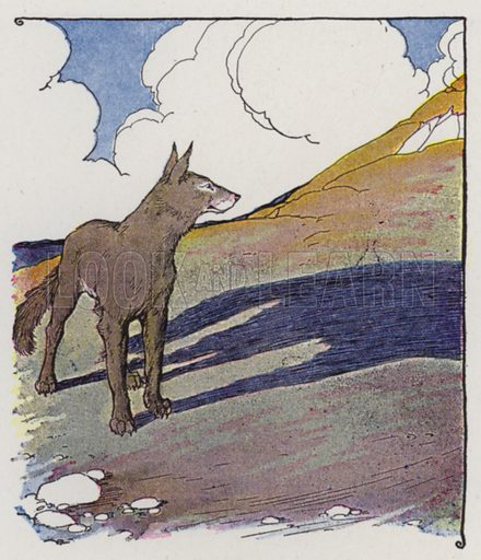 The Wolf and His Shadow. Illustration for The Aesop for Children with pictures by Milo Winter (Rand McNally, 1919).