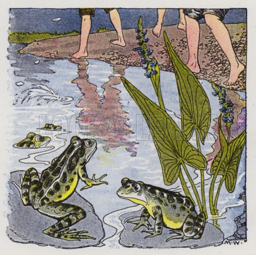 The Boys and the Frogs. Illustration for The Aesop for Children with pictures by Milo Winter (Rand McNally, 1919).