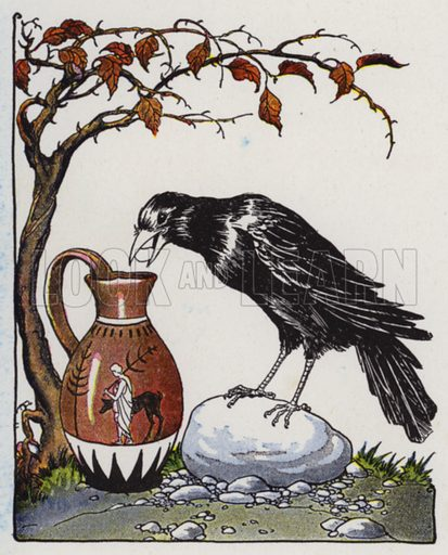 The Crow and the Pitcher. Illustration for The Aesop for Children with pictures by Milo Winter (Rand McNally, 1919).