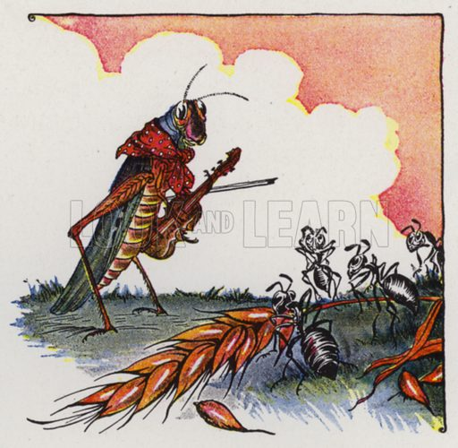 The Ants and the Grasshopper. Illustration for The Aesop for Children with pictures by Milo Winter (Rand McNally, 1919).