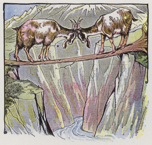 The Two Goats. Illustration for The Aesop for Children with pictures by Milo Winter (Rand McNally, 1919).