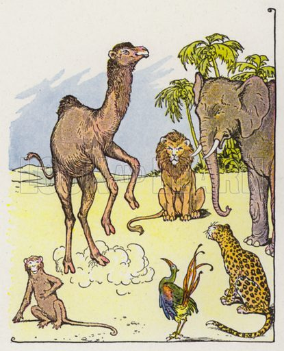 The Monkey and the Camel. Illustration for The Aesop for Children with pictures by Milo Winter (Rand McNally, 1919).