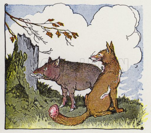 The Wild Boar and the Fox. Illustration for The Aesop for Children with pictures by Milo Winter (Rand McNally, 1919).