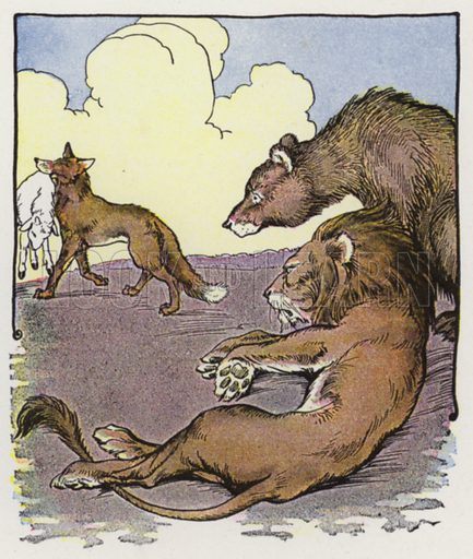 The Lion, the Bear, and the Fox. Illustration for The Aesop for Children with pictures by Milo Winter (Rand McNally, 1919).
