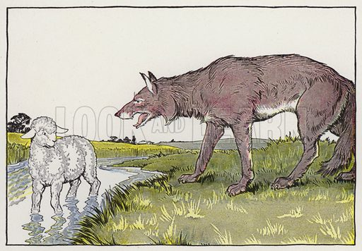 The Wolf and the Lamb. Illustration for The Aesop for Children with pictures by Milo Winter (Rand McNally, 1919).