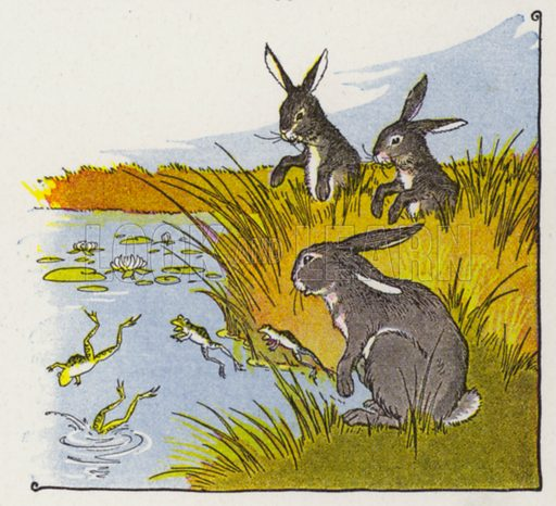 The Hares and the Frogs. Illustration for The Aesop for Children with pictures by Milo Winter (Rand McNally, 1919).