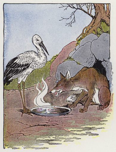 The Fox and the Stork. Illustration for The Aesop for Children with pictures by Milo Winter (Rand McNally, 1919).