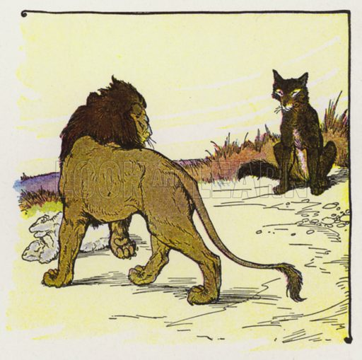 The Wolf and the Lion. Illustration for The Aesop for Children with pictures by Milo Winter (Rand McNally, 1919).